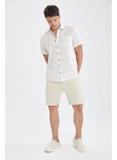 DeFacto Regular Fit Desenli Kısa Kollu Gömlek Beyaz